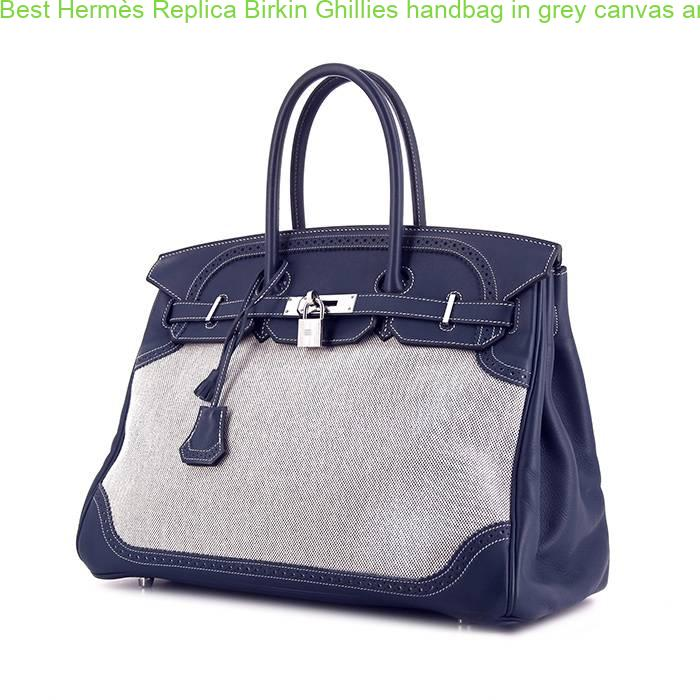 848b5a6637 Best Hermès Replica Birkin Ghillies handbag in grey canvas and blue Swift  leather