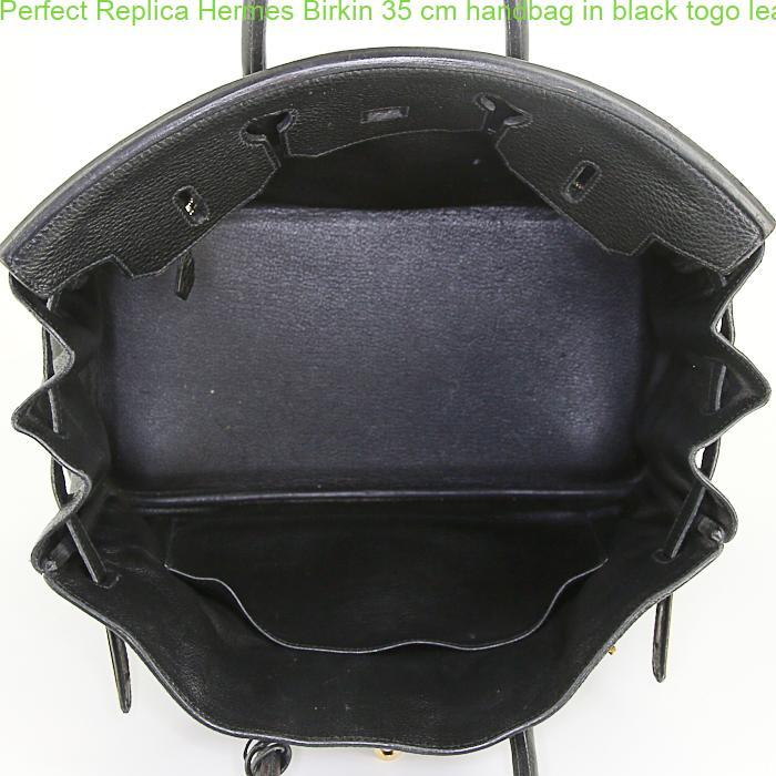 5fee074a58e5 Perfect Replica Hermes Birkin 35 cm handbag in black togo leather ...