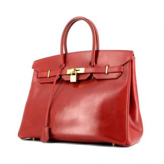b77e2baa3c Perfect Replica Hermes Birkin 35 cm handbag in red box leather ...