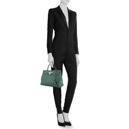 fbdf24553aa7 Perfect Replica Hermes Kelly 35 cm handbag in malachite green togo leather