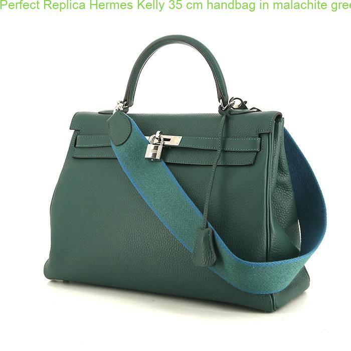 178f0806b53f Perfect Replica Hermes Kelly 35 cm handbag in malachite green togo leather