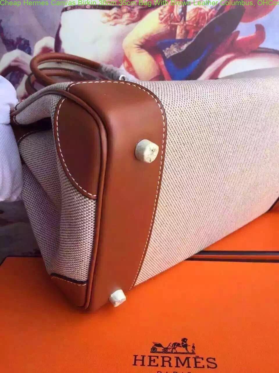 8b8a2ff0f0 Cheap Hermes Canvas Birkin 30cm 35cm Bag With Brown Leather Columbus ...