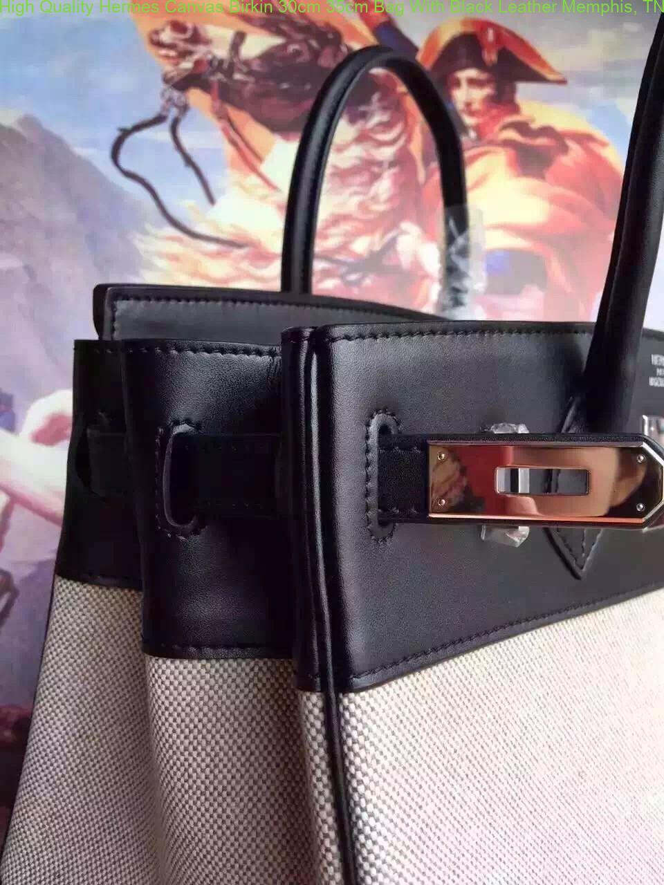 5616d3276c High Quality Hermes Canvas Birkin 30cm 35cm Bag With Black Leather ...