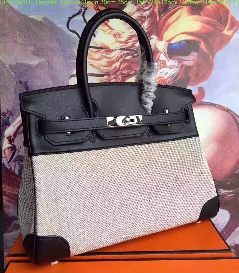6e8230b0d4 High Quality Hermes Canvas Birkin 30cm 35cm Bag With Black Leather ...