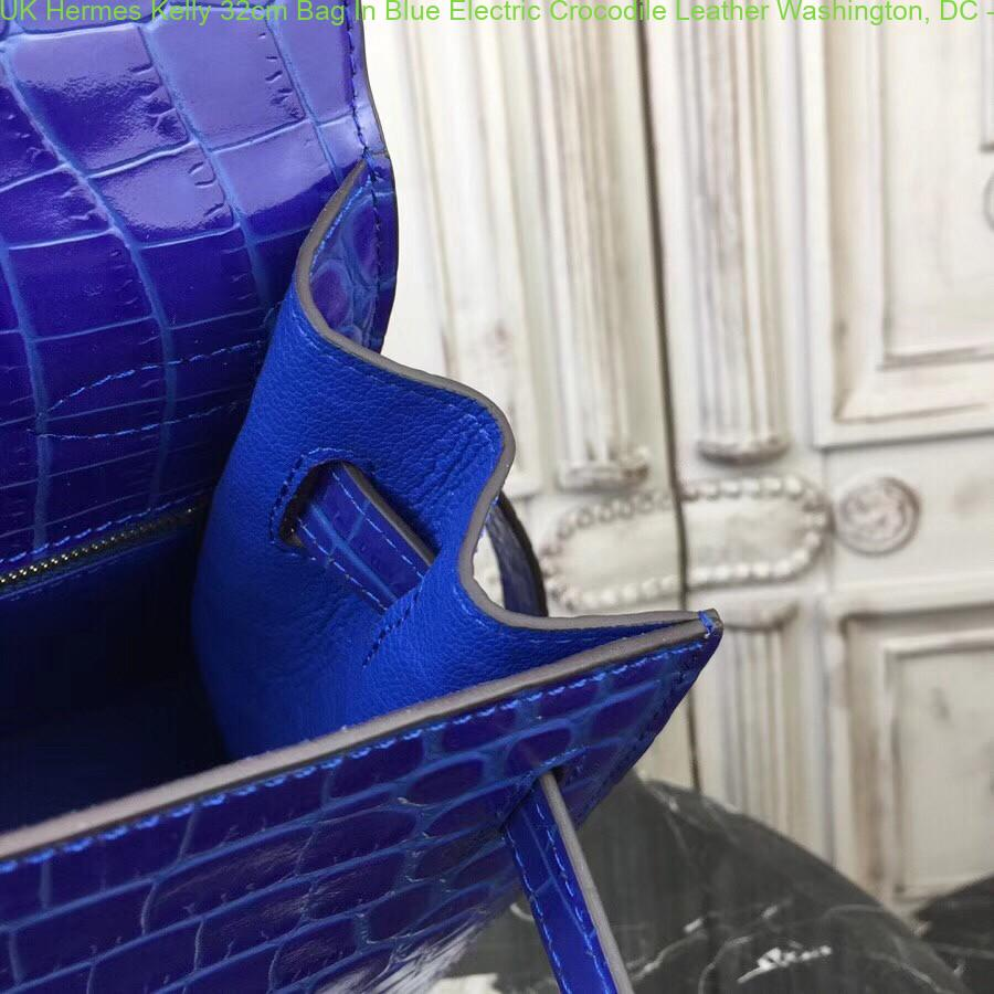 UK Hermes Kelly 32cm Bag In Blue Electric Crocodile Leather Washington, DC  - hermes replica sandals ffxiv - 2261