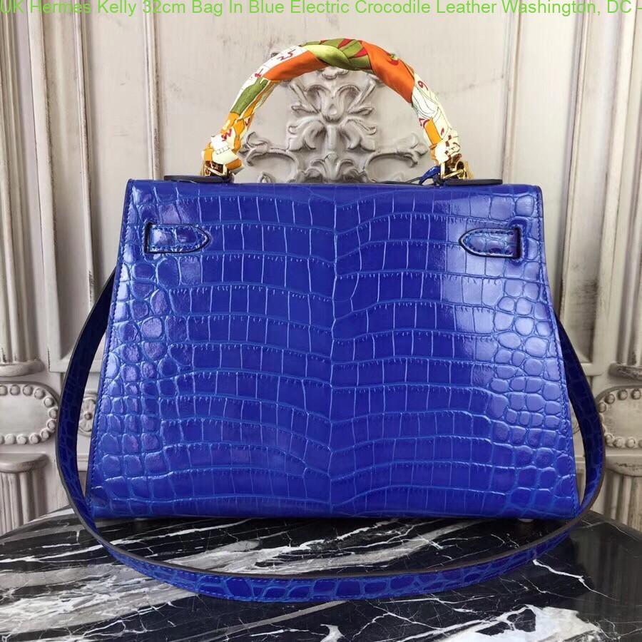 270a30e24e31 UK Hermes Kelly 32cm Bag In Blue Electric Crocodile Leather ...